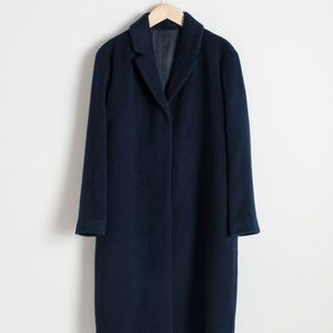 & OTHER STORIES Wool Blend Long Coat Navy Blue 4